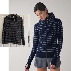 Lululemon Scuba black and grey stripped zip hoodie
